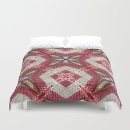 Holiday Red, Cream and Gold Burlap Plaid Pattern Duvet Cover