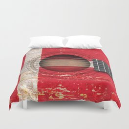 Old Vintage Acoustic Guitar with Danish Flag Duvet Cover