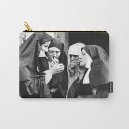 Smoking Nuns, Black and White, Vintage Wall Art Carry-All Pouch
