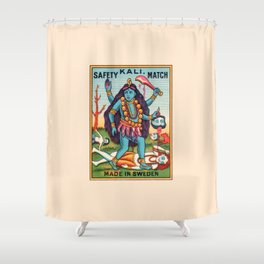 Kali Hindu Goddess Devi Shakti Matches Vintage Graphic Shower Curtain
