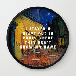 Vincent van Gogh, The Cafe Terrace on the Place du Forum (1888) / Halsey, Alone (2017) Wall Clock