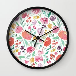 Peony Roses and Floral blooms Wall Clock