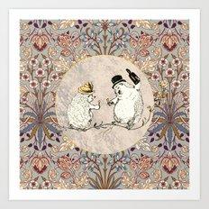 The Hedgehog Party Hyacinth Pattern Art Print