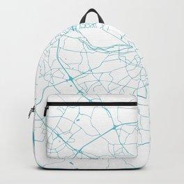 White on Turquoise Dublin Street Map Backpack