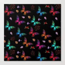 Pretty Vibrant Colorful Butterflies Pattern Canvas Print