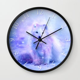 Arctic iceland fox Wall Clock