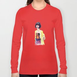 Fashion Illustration . Oriental Girl Long Sleeve T-shirt
