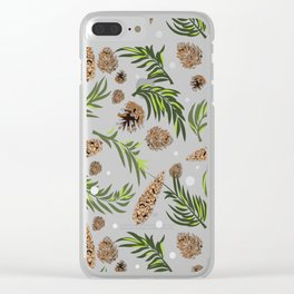 Winter Pattern III (pine cones) Clear iPhone Case