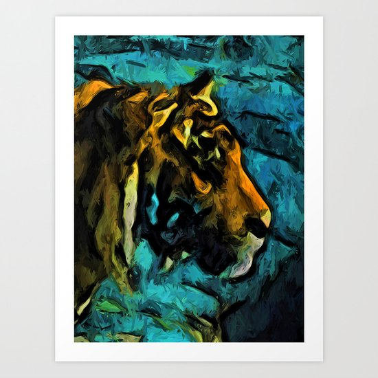 Gold Tiger with Black Lines and some Blue Art Print