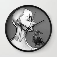 crow Wall Clocks featuring Crow by Sam Pea
