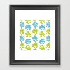 Fun Flowers blue green Framed Art Print