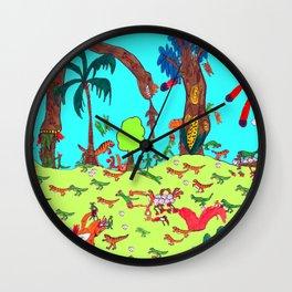 Dinosaur Battle_2 Wall Clock