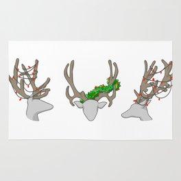 Christmas Reindeer Wreath Rug