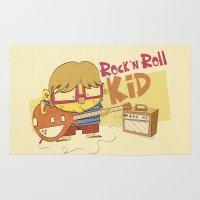 rock n roll Area & Throw Rugs featuring Rock n Roll Kid by Ariel Fajtlowicz