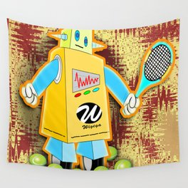 Tennis Robot with Racquet Wall Tapestry