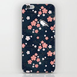 Navy blue cherry blossom finch iPhone Skin