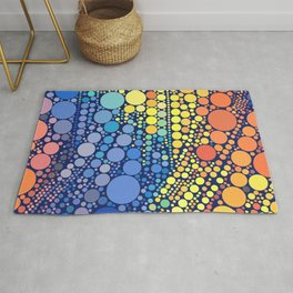 Sun Wave Multicolor Circles Pattern Rug
