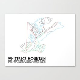 Whiteface, NY - Minimalist Trail Art Canvas Print