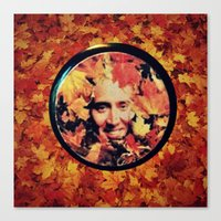 "nicolas cage Canvas Prints featuring Nicolas cage eyeshadow: ""Nic Cage Raking Leaves On a Brisk October Afternoon"" by Paris Noonan"