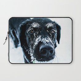 Snow Dog // Cross Country Skiing Black and White Animal Photography Winter Puppy Ice Fur Laptop Sleeve