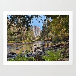 El Capitan Fall Colors And Merced River 10-20-18  Art Print