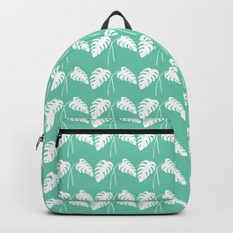 White Monstera Leaf Watercolor on Teal Backpack
