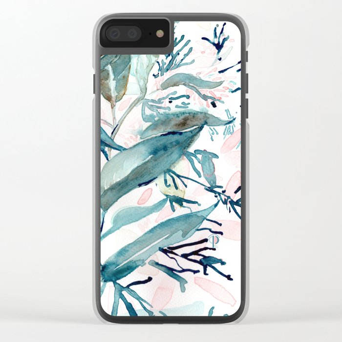 """G. Hand painted watercolor art """"Botanical Illusion"""" Clear iPhone Case"""