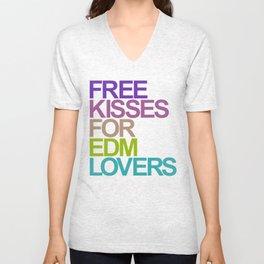 Free Kisses For EDM Lovers (color) Unisex V-Neck