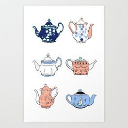 Vintage teapots in pink and blue Art Print