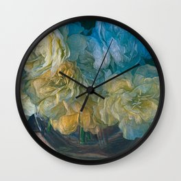 Vintage Still Life Bouquet Painting Wall Clock