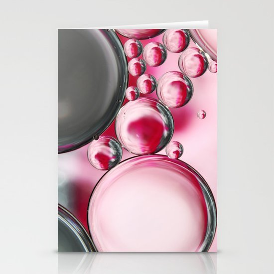 Rose & Grey Bubble Abstract Stationery Cards