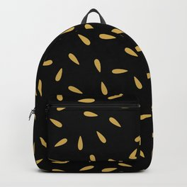 Yellow Gold Matte Water Drops on Black Background Backpack