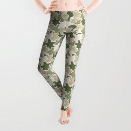 Green and beige camo pattern Leggings