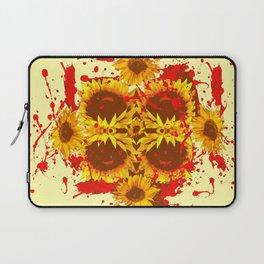 CAUTION: DANGEROUS SUNFLOWERS YELLOW-RED ART Laptop Sleeve