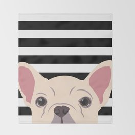 Peeking Frenchie Throw Blanket