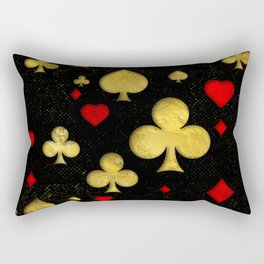 Abstract Gold and Red Suits Pattern Digital Art Rectangular Pillow