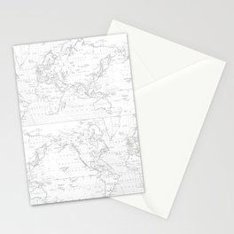 Vertical Worldmap. Nordic style Stationery Cards