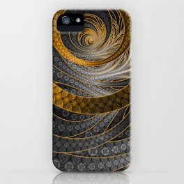 Banded Dragon Scales of Black, Gold, and Yellow iPhone Case