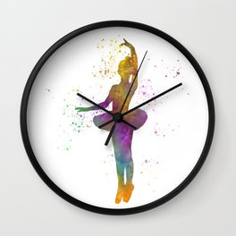 Young woman practices classical ballet in watercolor 10 Wall Clock