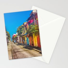 Traditional Street in Cartagena de Indias, Colombia Stationery Cards
