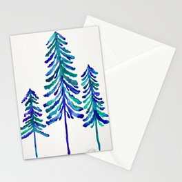 Pine Trees – Navy & Turquoise Palette Stationery Cards