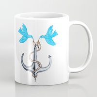 sam smith Mugs featuring Sam Anchor of Love by Annette Jimerson