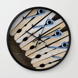 Wooden Clothespins 2 Wall Clock
