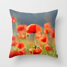 Red Poppies Flowers Throw Pillow