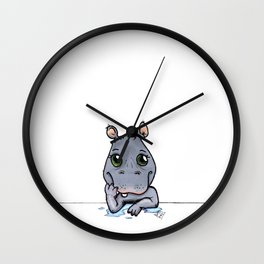 Cute Critters - Baby Hippo Wall Clock