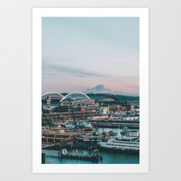 Seattle & Mount Rainier Art Print