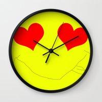 emoji Wall Clocks featuring Happy Emoji by Rissarae Designs