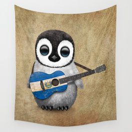 Baby Penguin Playing Salvadorian Flag Acoustic Guitar Wall Tapestry