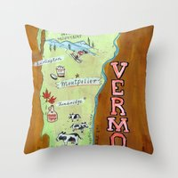 vermont Throw Pillows featuring VERMONT by Christiane Engel