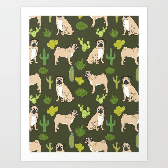 Pug Cactus succulent southwest cute children fur baby pug dog art pet portrait funny animals Art Print